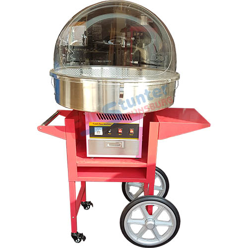 Cotton candy machine with cart and plastic bubble
