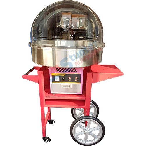 Suikerspinmachine en onderwagen met windkap los verhuurbaar