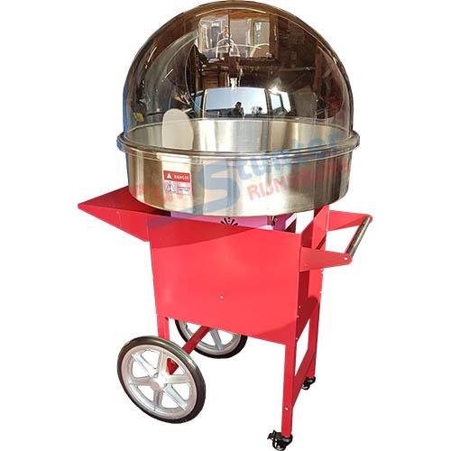 Suikerspinmachine met windkap en suikerspin onderwagen