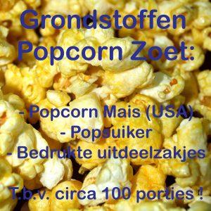 Popcorn grondstoffen, popcornmais, popsuiker, popcornzakjes