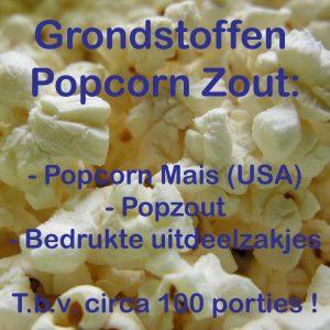 Popcorn grondstoffen, popzout, popcornmais, popcornzakjes
